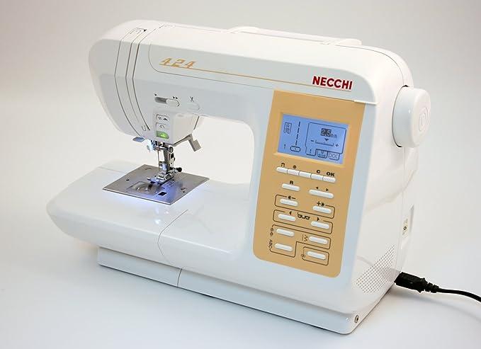 Necchi N424 Eléctrico - Máquina de coser (Blanco, Costura, 5 mm, LCD, 7 mm, Eléctrico): Amazon.es: Hogar