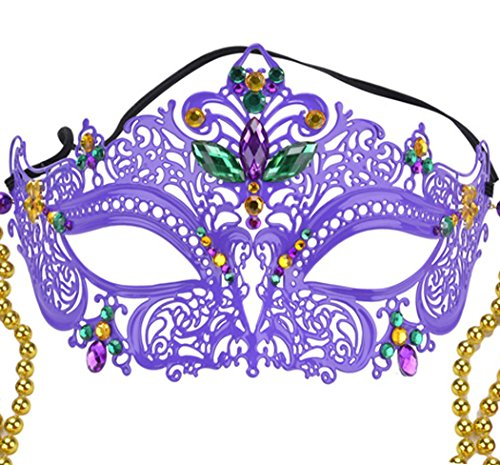 [Coxeer Womens Masquerade Mask Halloween Venetian Mask with Beads Decoration] (Feather Mask With Stick)