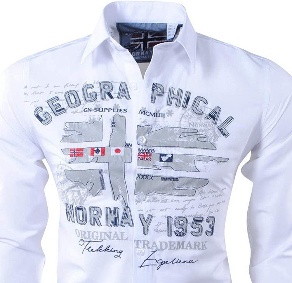 Geographical Norway - Camisa Casual - para Hombre Blanco S ...