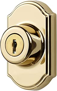Ideal Security Inc. SK703BB DX Keyed Deadbolt for Storm and Screen Doors Easy to Install, Bright Brass