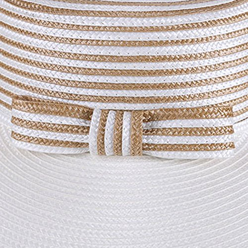 Dovaly Womens Fascinator Kentucky Derby Large Brim White Gold Striped Bowknot Sunhat by Dovaly (Image #3)