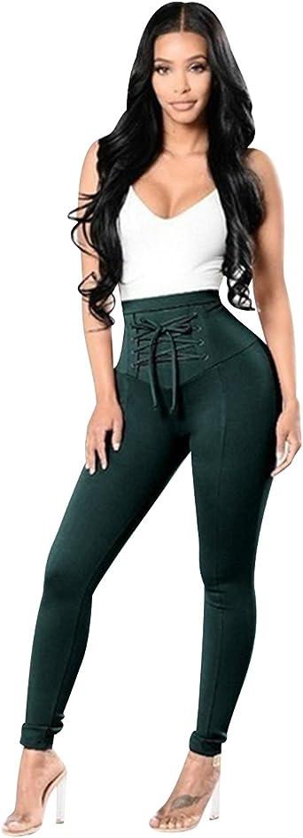 Pantalones Cintura Alta Skinny Mujer Pantalon Slim Tiro Alto Mujer Jeggings Leggins Push Up Senora Leggings Yoga Fitness Deporte Pantalones Talle Alto Deportivos Elasticos Mujer Verde Oscuro M Amazon Es Ropa Y Accesorios