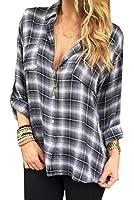 Honey GD Women's Plaid Buttoned Long Sleeve Top Shirt
