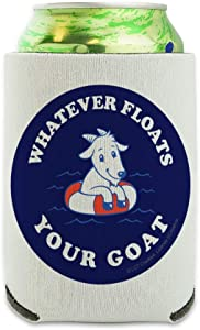 Whatever Floats Your Goat Boat Funny Humor Can Cooler - Drink Sleeve Hugger Collapsible Insulator - Beverage Insulated Holder