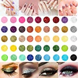 GiBot 45 Colors Fine Glitter Pigment Powder Loose Slime Glitter Set Craft DIY Nail Arts Hair Eyeshadow Face and Body Make Up Dust Powder Decoration,Suitable for Stage Performance, Graduation Party