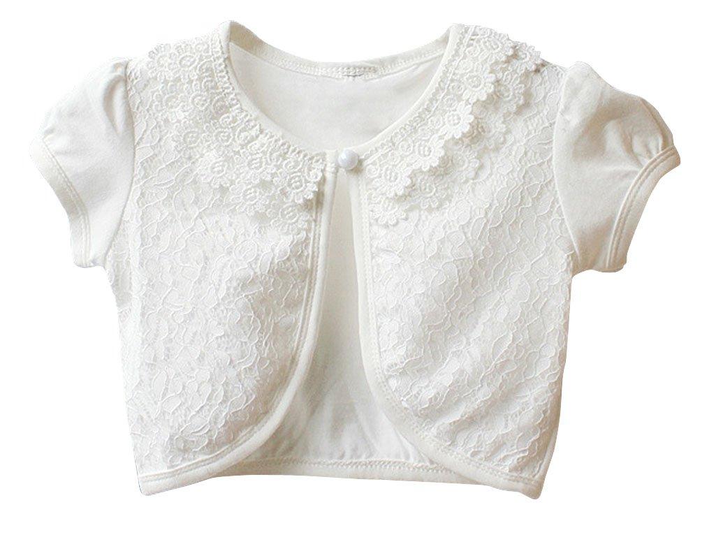 BogiWell Little Girls' Lace Bolero Cardigan Shrug Short Sleeve White(US 3-4T,Tag 110)