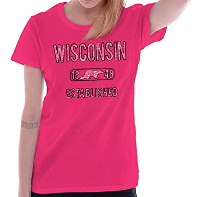 c5857869791 Brisco Brands Womens Funny T Shirts Wisconsin State Pride State Flag USA  Badger at Amazon Women s Clothing store