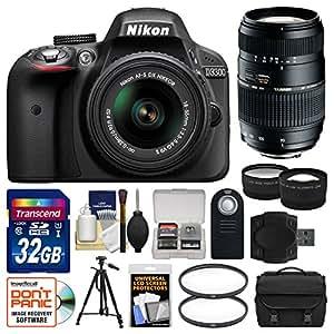 Nikon D3300 DSLR Camera & 18-55mm VR, 70-300mm Lenses with 32GB Card + Case + Tripod + Tele/Wide Lens Kit (Certified Refurbished)