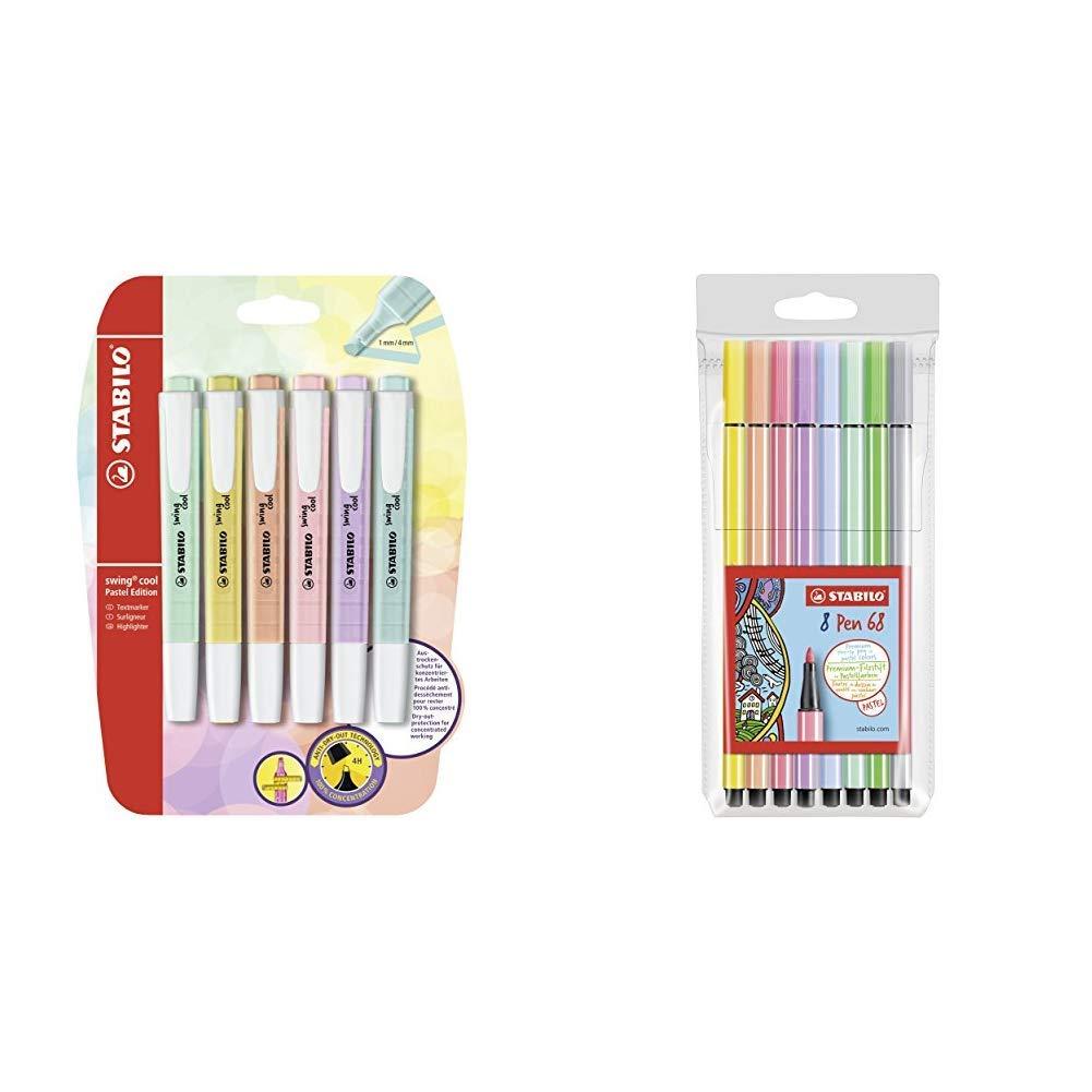 Pack con 6 Evidenziatori Colori Assortiti /& Pen 68 Astuccio da 8 Colori Pastello STABILO Swing Cool Pastel 8 Pezzi