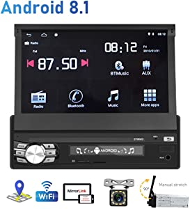 Hikity Android 8.1 Car Stereo Single Din 7 Inch Flip Out Touch Screen Radio with SD Card/USB/AUX-in Port Supports FM Bluetooth WiFi GPS Navigation Mirror Link for Phone Android/iOS + Backup Camera