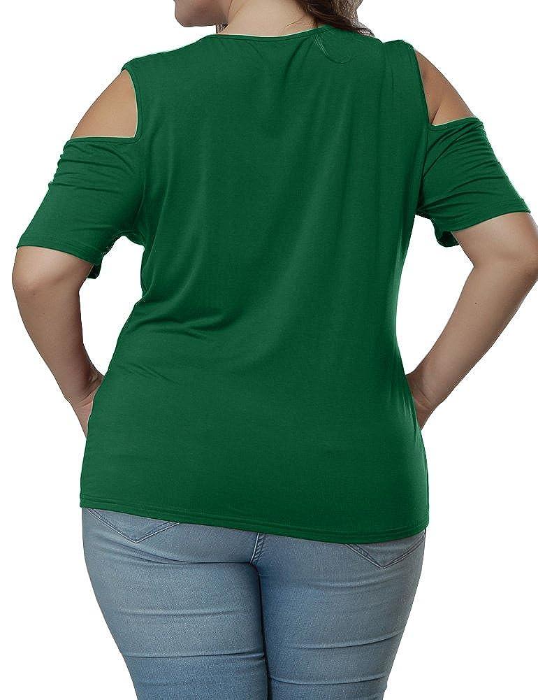 Allegrace Womens Plus Size Top Keyhole Front Short Sleeve Cold Shoulder T Shirt
