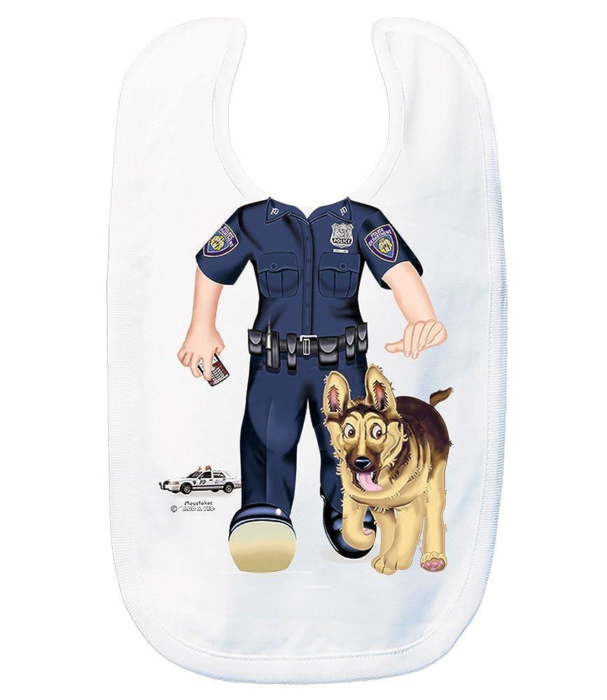 Just Add A Kid Baby Girl's Policewoman K9 948 Baby Bib 0-6 Months White