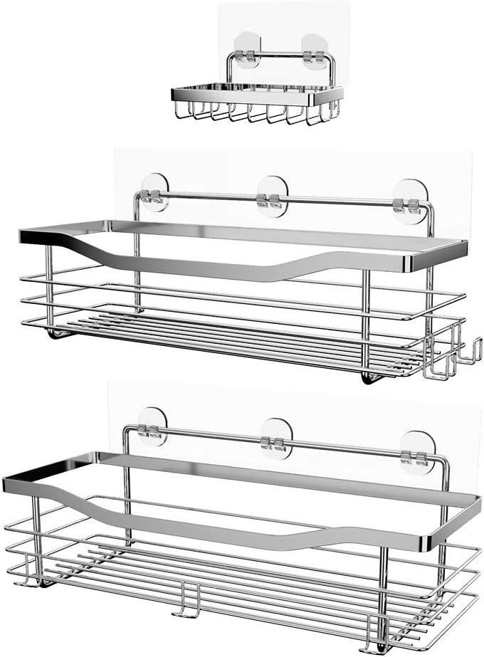 Orimade Adhesivo Estantes Cesta para Ducha Estanteria con 5 Colgadores Organizador Baño SUS304 Acero Inoxidable Sin Taladro - Pack de 3