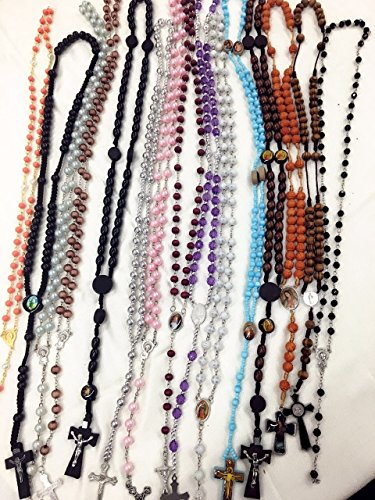 12pcs mix lot rosary necklace Religious catholic Crucifix cross wholesale lot