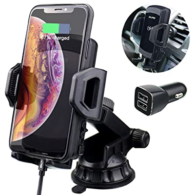 Wireless Car Charger Mount,OHLPRO 10W/7.5W Qi Fast Charging Car Phone Holder Easy One Hand Operate Windshield Dashboard Air Vent Compatible with iPhone Xs/Xs Max/XR/X/ 8/8 Plus Samsung S10 S9 Note 9