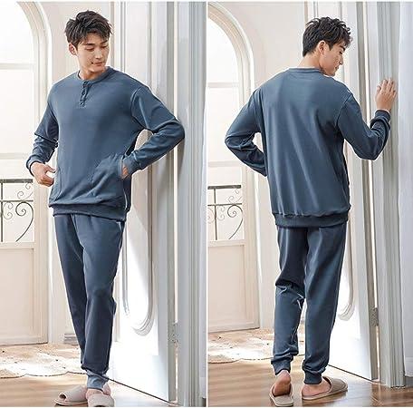UUMFP Pijamas Hombre Algodón de Manga Larga Conjunto de Pijama para Hombre Pantalones Largo Ropa de Casa 2 Piezas Ropa de Dormir Ropa de Salón (Color : Gray Blue, Size : M):