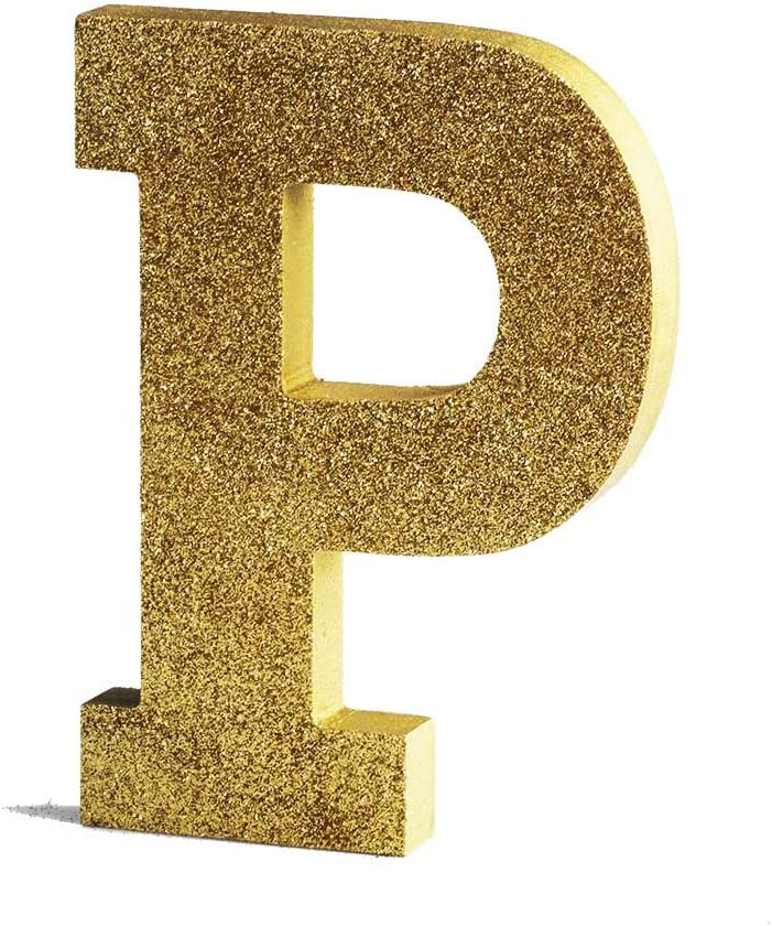 Gold Decorative Wood Letters, Hanging Wall Letters Wooden Alphabet Wall Letter P for Home Bedroom Wedding Birthday Party Decor-Letters (P)