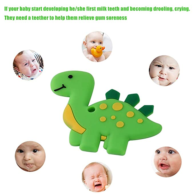 Blue Bestwin Dinosaur Baby Teether BPA Free Silicone Teething Toy for Baby Shower 0 3 6 12 Months 1 Year Old