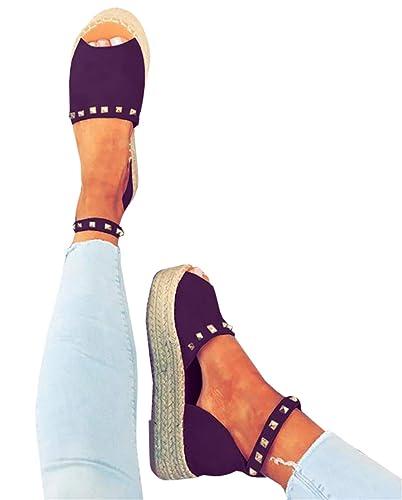 a49cde39eea80 Syktkmx Womens Flatform Espadrilles Open Toe Ankle Strap Flat Platform  D'Orsay Sandals