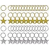 Pangda 50 Pieces Hair Braid Rings Shiny Star Hair Clips Rings Hair Charms Pendant Loops, Gold and Silver Reviews