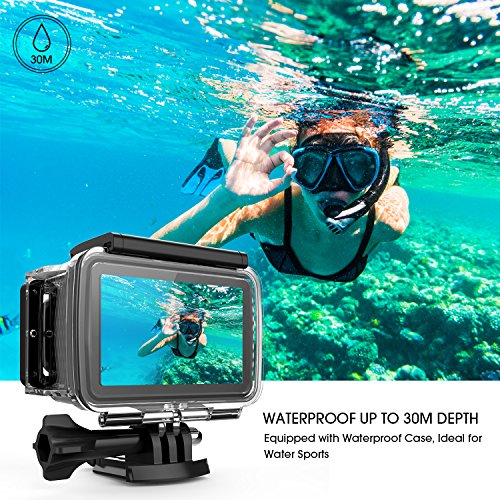 "61YuzMIysWL - DBPOWER EX7000 PRO 4K Action Camera 2.45"" LCD Touchscreen Underwater Camera with 16MP Sony Image Sensor Waterproof Sports Cam and 170° Wide-Angle Lens 2x Rechargeable Batteries"