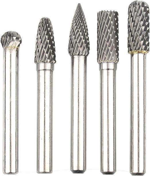 "5PCS 6mm Shank Solid Burr File... 1//4/"" Double Cut Carbide Rotary Burrs Set"