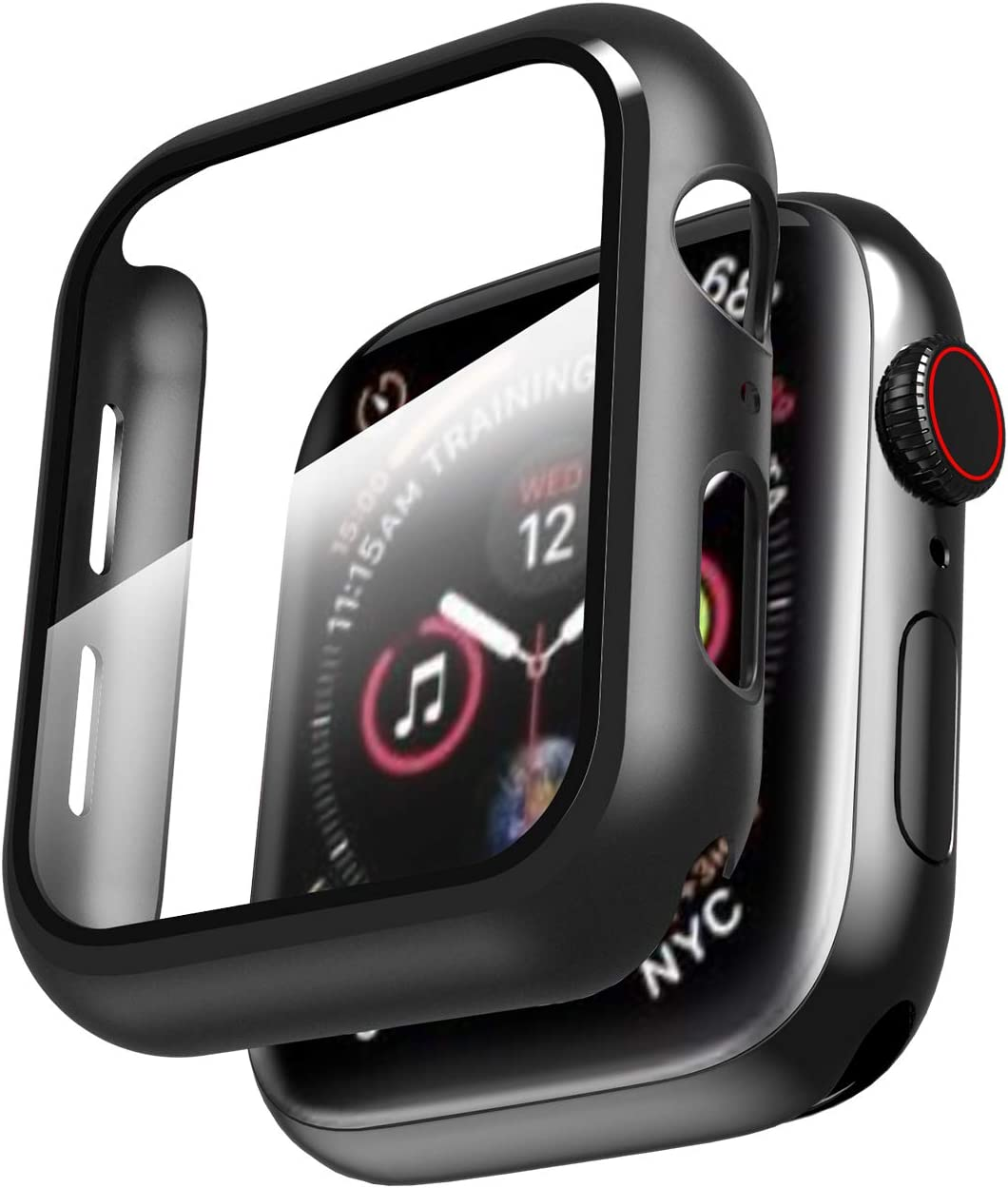 Smiling Case for Apple Watch Series 6/ SE/Series 5/4 44mm with Built in Screen Protector-All Around Hard PC Case with Tempered Glass Screen Protector Overall Protective Cover for iwatch (44mm,Black)