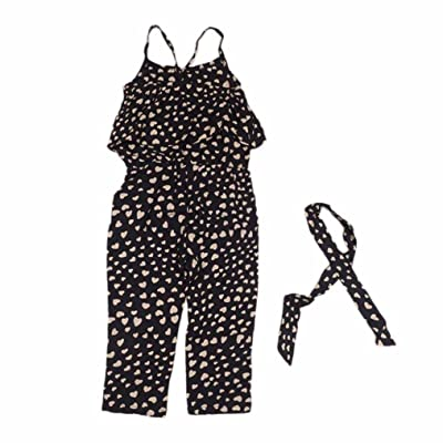 2017 Toddlers Children Girls Love Heart Straps Jumpsuits For YJM (6T(5-6Y), Black)