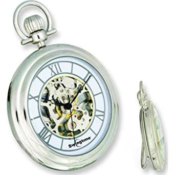 ed11056c1 Image Unavailable. Image not available for. Color: Swingtime Chrome Plated  Brass 17 Jewel Pocket Watch