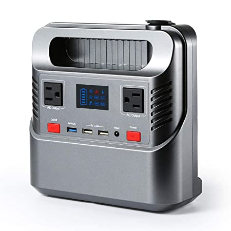 FLOVEME Portable Power Station Generator with Flashlight 266Wh 300W Solar Generator Rechargeable Emergency Backup Battery Pack 110 AC DC Outlet QC 3.0 USB Port 12V Car for Home Camping Travel CPAP