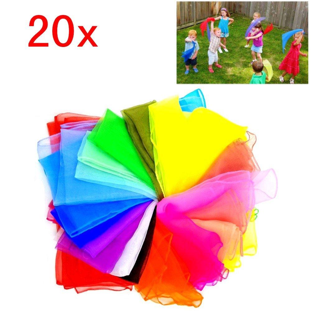 JZK 20 Multi colore morbido leggera organza seta sciarpa danza giocoleria quadrata foulard magia gioco veli piccoli fazzoletti colorati chiffon per bambini festa accessorio decorazione