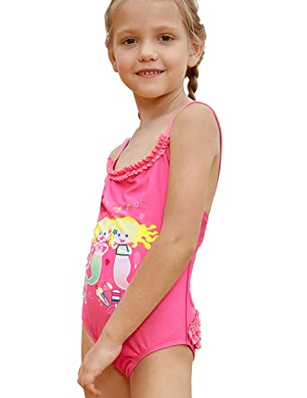 7e55a4df4ccd0 PARICI Little Girls One Piece Mermaid Print Swimsuit Swim Bathing Suit Size  4-8Y Pink