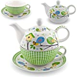 Gilde Porzellan Tee Set Birdy Tea for one Vogel Teeservice Teekanne Tasse Untersetzer weiß grün 49165