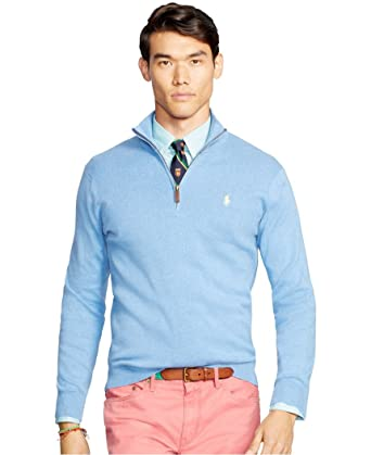 9be5118b1 Polo Ralph Lauren Mens Heathered French-Rib 1 2 Zip Sweater at ...