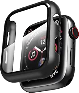Smiling Case for Apple Watch Series 4 & Series 5 40mm with Buit in Tempered Glass Screen Protector- All Around Hard PC Protective Case High Definition Clear Ultra-Thin Cover for Apple watch Series 4/5