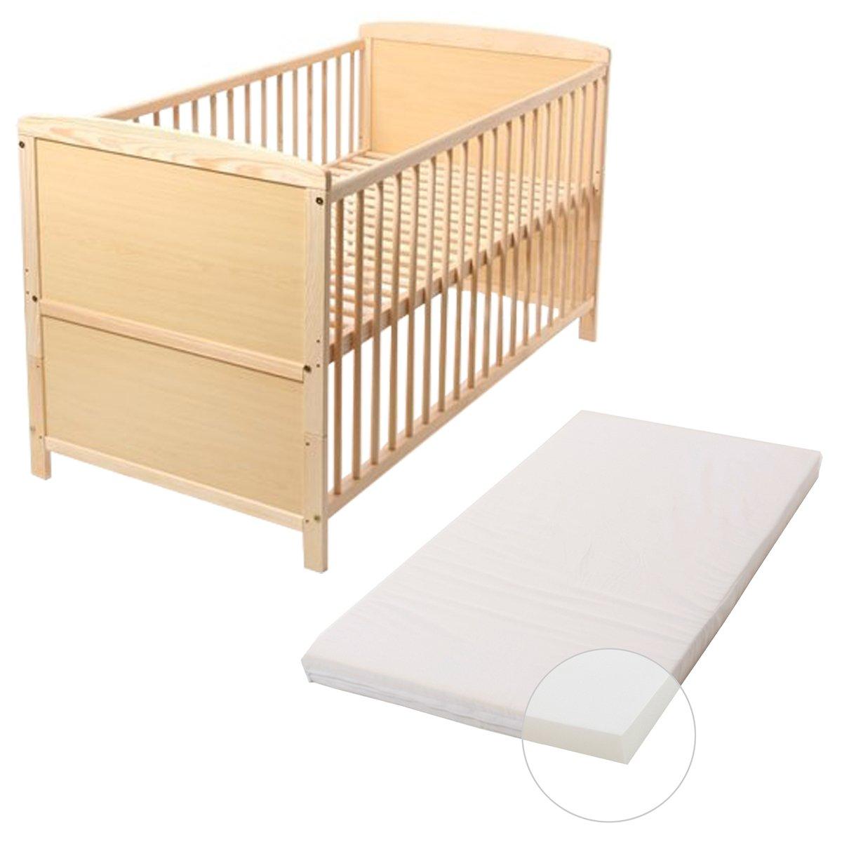 Baby- Kinder- und Jugend- Bett, Gitterbett, Kiefer teilmassiv, 140x70 cm, Babyblume TINA, Kiefer, inkl. Matratze BASIC