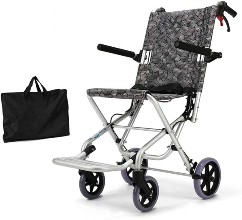 Lonve Silla de Ruedas Ultraligera de Aluminio, plegadora Ligera, autoblocante, portátil, Carro de Viaje Simple para Personas Mayores