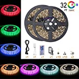 #5: Led Strip Light Waterproof 600leds 32.8ft 10m Waterproof Flexible Color Changing RGB SMD 5050 600leds LED Strip Light Kit with 44 Keys IR Remote Controller and 12V 5A Power Supply