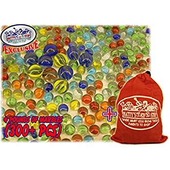"""Deluxe 4 Pounds (300+ Count) of Cat's Eyes Marbles & Shooters with Exclusive """"Matty's Toy Stop"""" Storage Bag"""