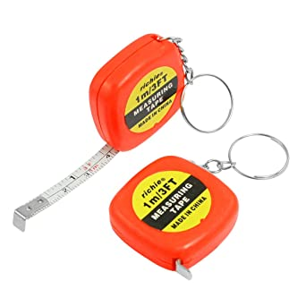 2 piezas multifunción naranja rojo 1 Meter 91,44 cm w Mini llavero cinta métrica