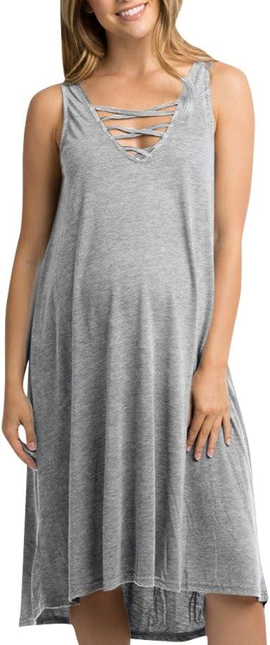Moda Color Sólido Vestidos Falda de Mujer Suelto Casuales Vestido ...