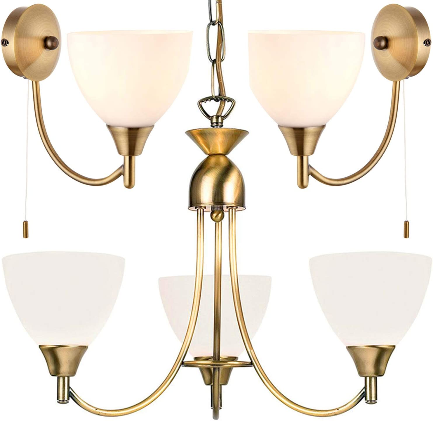 Flush Hanging 3 Bulb Ceiling 2x Wall Light Pack Antique Brass Frosted Glass Shade Matching Indoor Lamp Fittings Modern Vintage Lounge Bedroom Lighting Set Led Compatible Dimmable