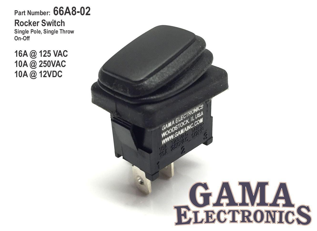Gama Electronics Waterproof Mini Off On Rocker Switch Wiring Spst 16a 125vac Automotive