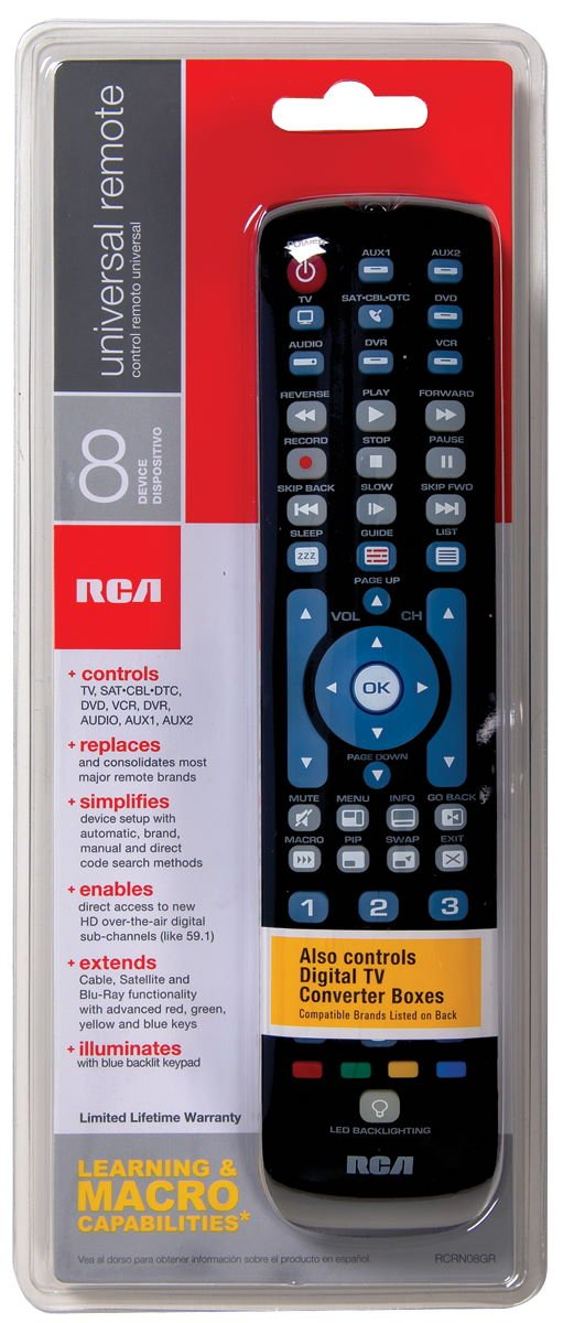 rca rcrn08gr 8 device universal remote with blue backlit keypad rh amazon co uk Automobile Owners Manual Cartoon Manual