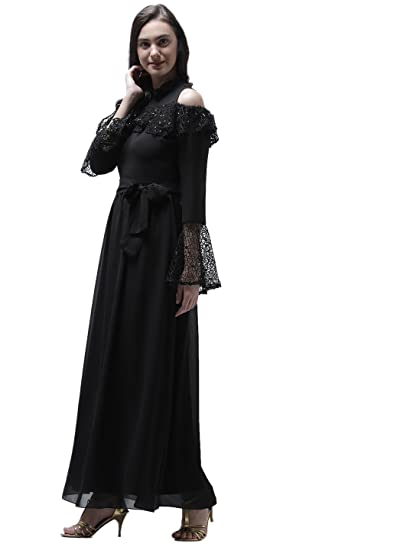 80ad6d7f79db Athena Women s Black Polyester Fit and Flare Maxi Dress  Amazon.in ...