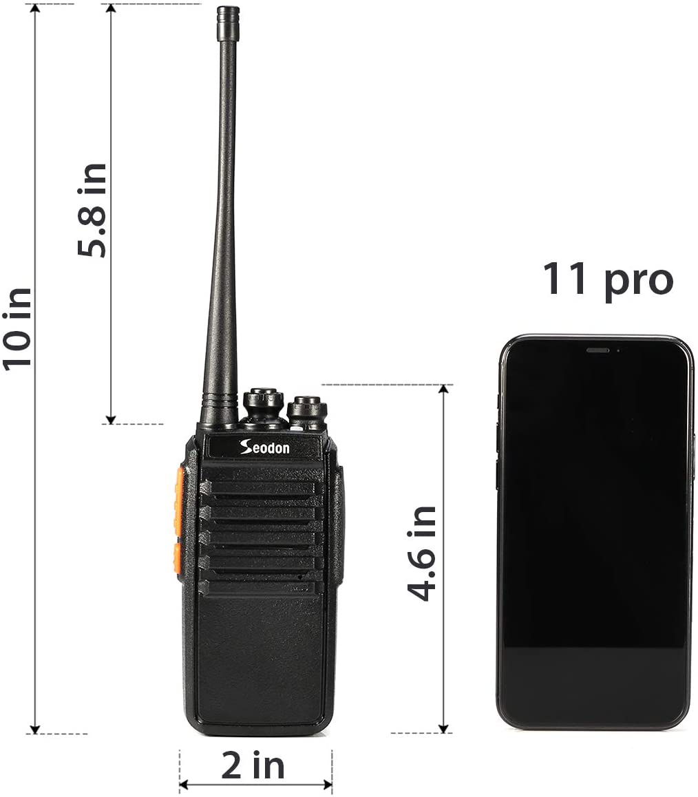 2 Pack Seodon Walkie Talkies Long Range for Adult with One Extra 1500Mah Battery for Each Radio Rechargeable Walkie Talkie FRS//GMRS UHF 400-470Mhz Two Way Radios with Headsets//Earpieces