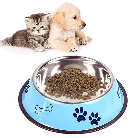 Hianiquaime® Comedero Bebedero Mascotas de Acero Inoxidable con Fondo de Goma Antideslizante Recipiente Plato para