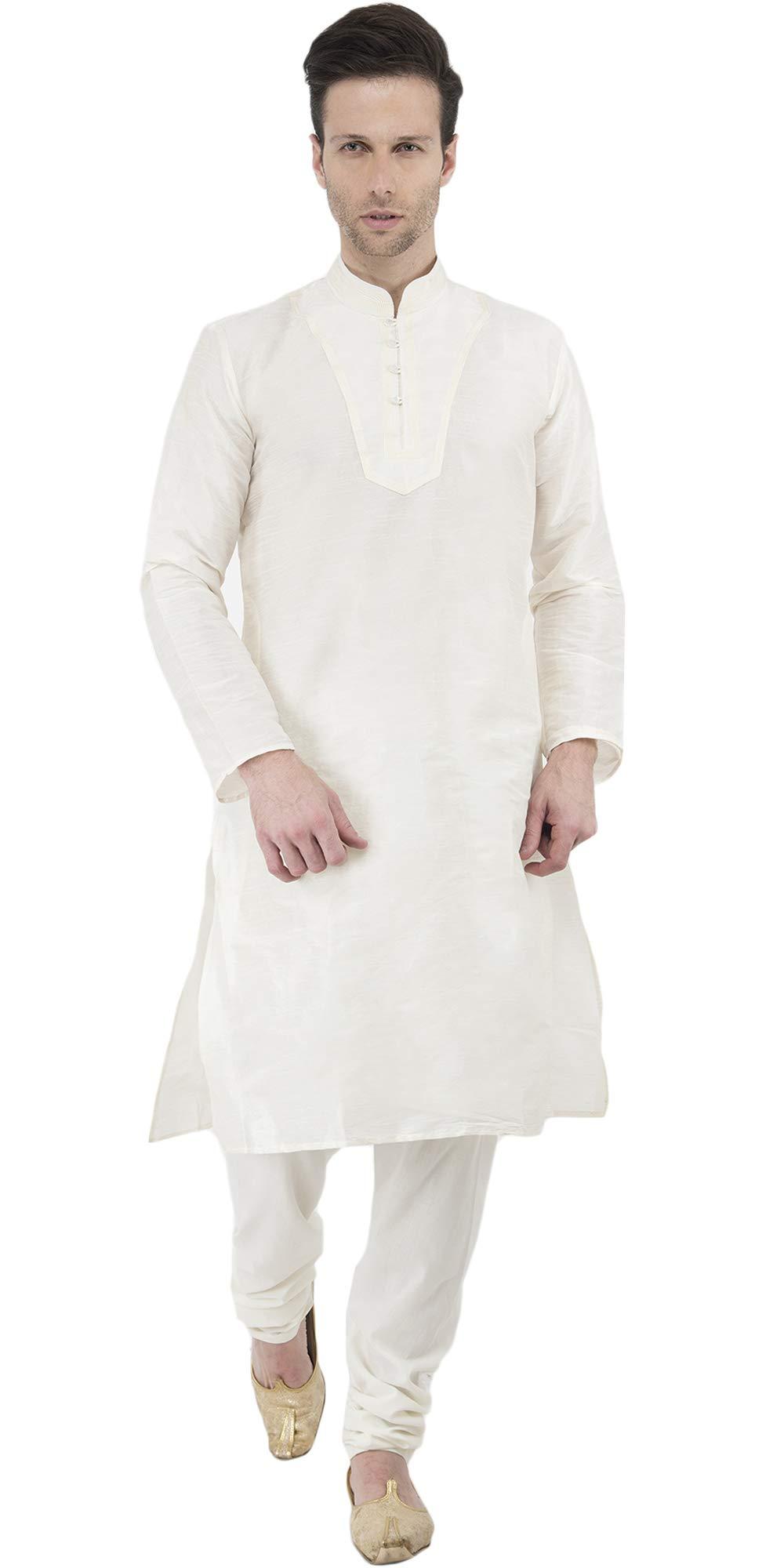 Kurta Pyjama Indian Designer Wedding Mens Long Sleeve Button Down Shirt Kurta Pyjama -L