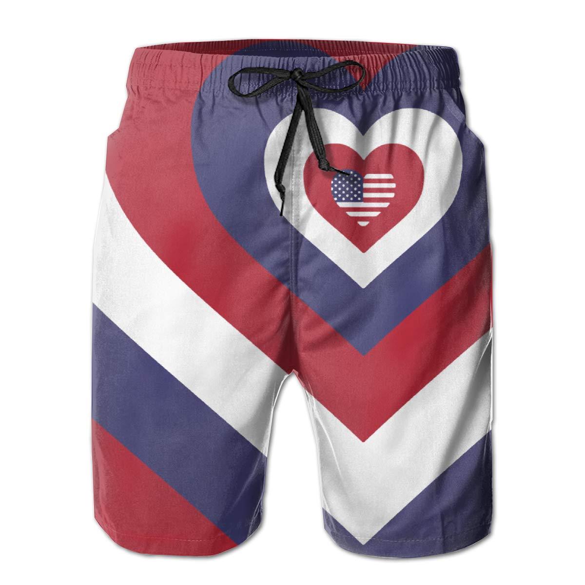 CCNXFGOK American Flag Hearts Boardshorts Mens Swimtrunks Fashion Beach Shorts Casual Shorts Swim Trunks