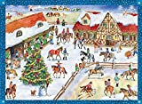 Horse Barn with Riders German Advent Calendar (approx 10.5 x 14-inches)